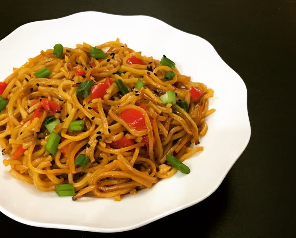 Easy and delicious one-pot Garlic Noodles in the instant pot. Just sauté the veggies, add sauces, noodles & water. These yummy noodles will definitely satisfy your take-out cravings.