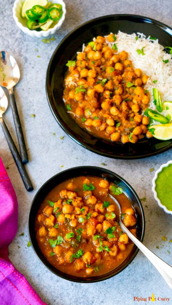 Chana Masala made in the instant pot in a bowl and in a plate with basmati rice