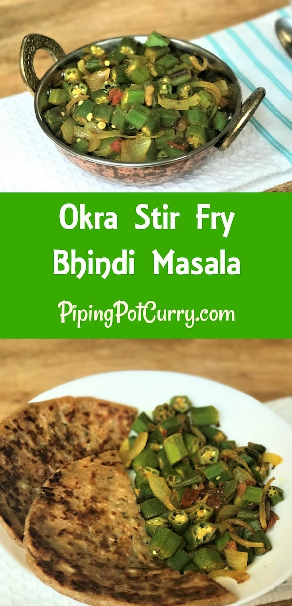 Bhindi Masala or Okra Stir Fry made in Instant Pot or Pressure Cooker. #Okra cooked with #onion #tomato #garlic and #spices. Perfectly cooked with no slimy texture of okra. And guess what, ready in less than 20 minutes | #bhindi #recipe #indian #vegan #vegetarian #curry #instantpot | pipingpotcurry.com