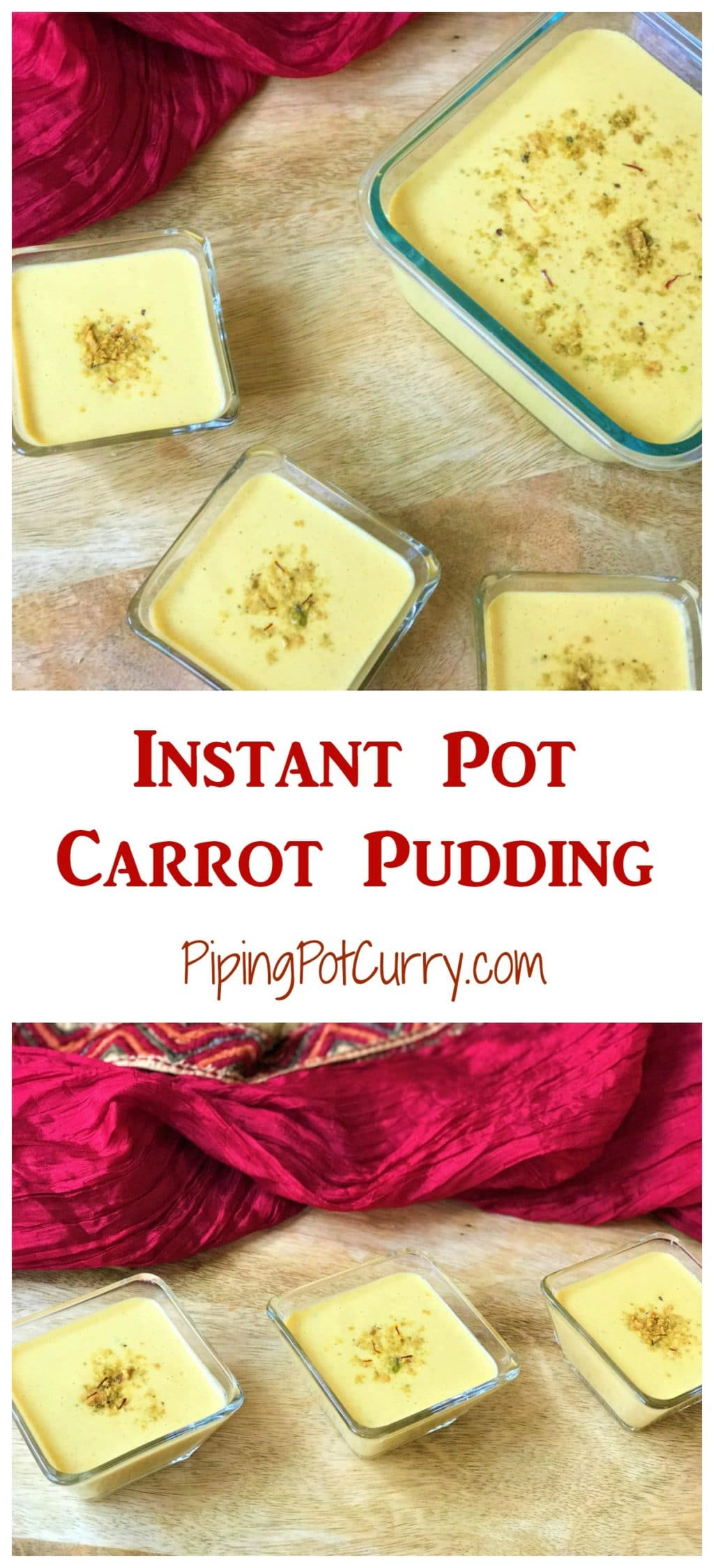 Want a delicious, healthy and quick dessert? This is the best Carrot Pudding you will ever make in your #instantpot. Made with #carrots #milk #cashews and #dates with the added aroma of #cardamom & #saffron. With no added sugar, you would not mind second and third servings! #kheer #payasam #pudding #healthy #dessert #indian #easy #instantpot #pressurecooker #vegetarian #glutenfree | pipingpotcurry.com