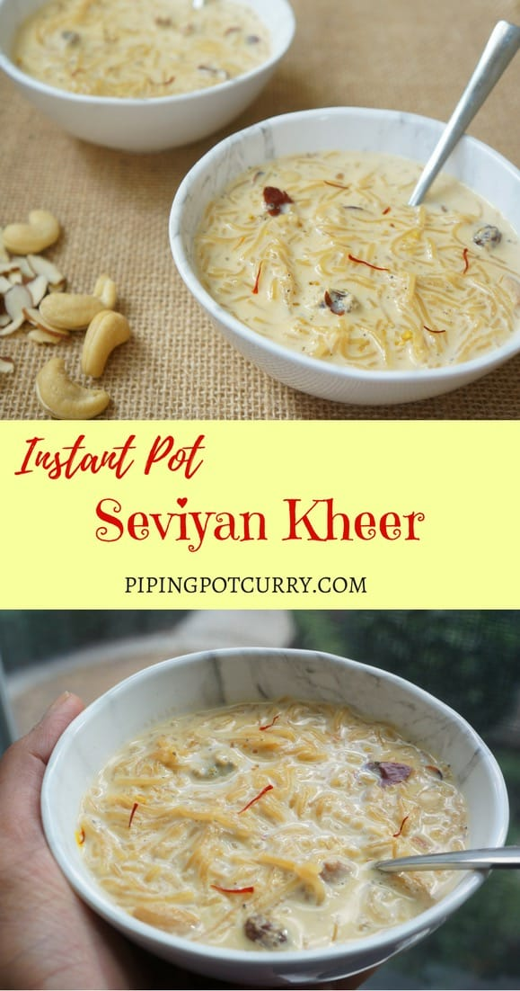 Instant Pot Vermicelli Kheer or Seviyan Kheer is a delicious Indian dessert. A creamy and delicious pudding made with vermicelli, milk and sugar, infused with aromatic saffron, cardamom, nuts and raisins. | #kheer #seviyan #sweet #meethi #zarda #dry #recipe #vegetarian #instantpot #pressurecooker | pipingpotcurry.com