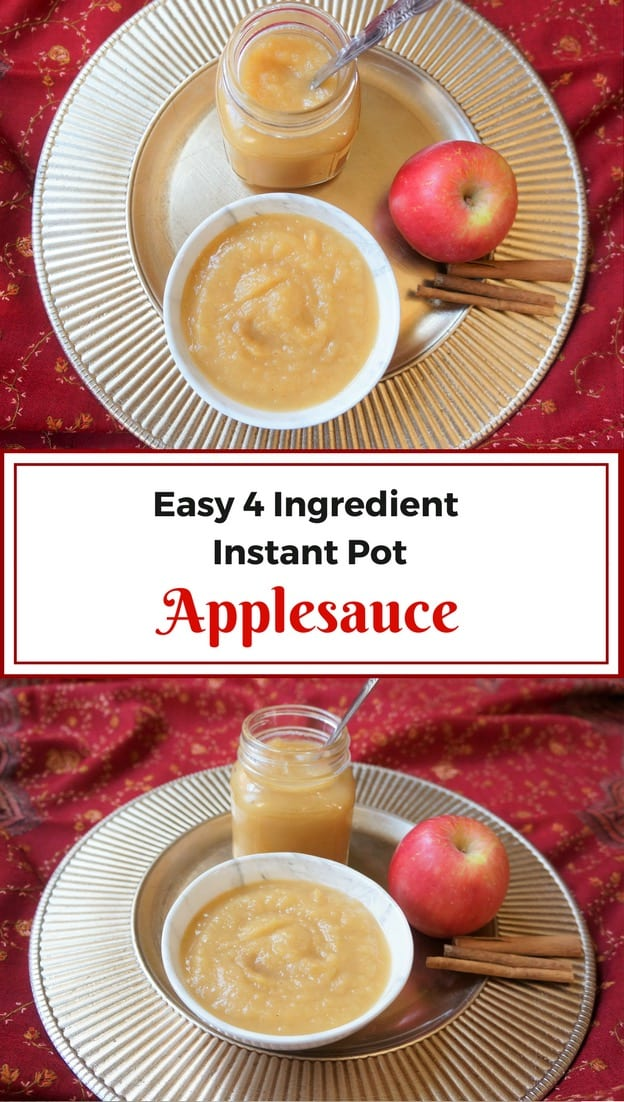 4 ingredients and just 5 minutes of preparation to make this delicious Instant Pot Applesauce. This is a delicious cinnamon flavored Apple puree, that has a good balance of savory, sweet and tangy   #applesauce #dessert #homemade #instantpot #pressurecooker #recipe #healthy #easy   pipingpotcurry.com