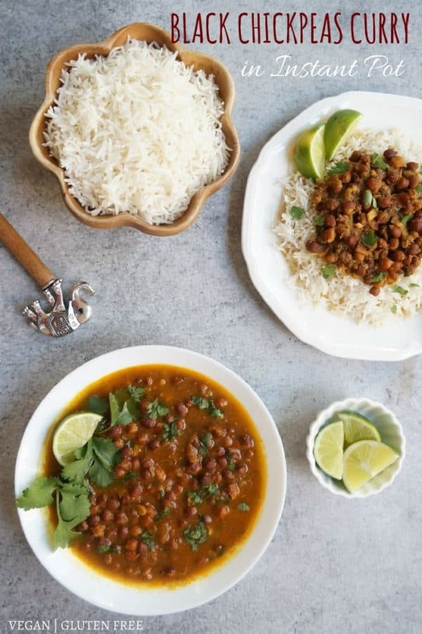 Punjabi Kala Chana or Black Chickpeas Curry made in Instant Pot or Stovetop pressure cooker.  A homestyle mild spiced curry, best enjoyed with rice | #recipe #indian #chickpeas #chana #garbanzo #black #gravy #curry #instantpot #pressurecooker #vegan #glutenfree | pipingpotcurry.com