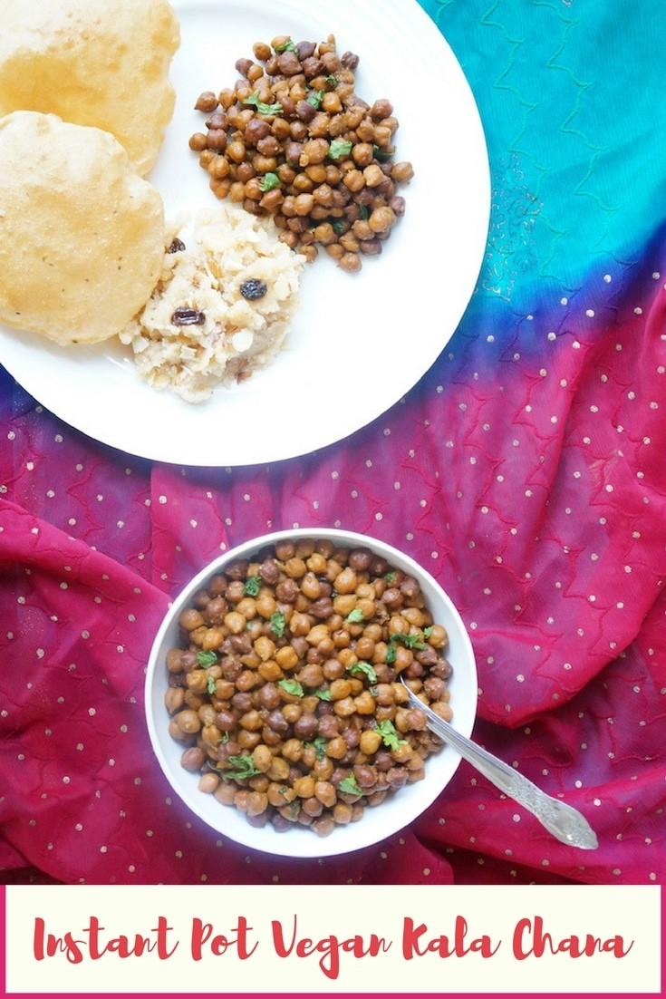 Instant Pot Black Chickpeas or Sookha Kala Chana - This is an easy Indian dish made during the festival of Navratri. It is vegan, gluten free and high protein. Enjoy it the traditional way with Halwa and puri, or make a salad with chopped veggies | #kalachana #instantpot #pressurecooker #blackchickpeas #sundal | pipingpotcurry.com