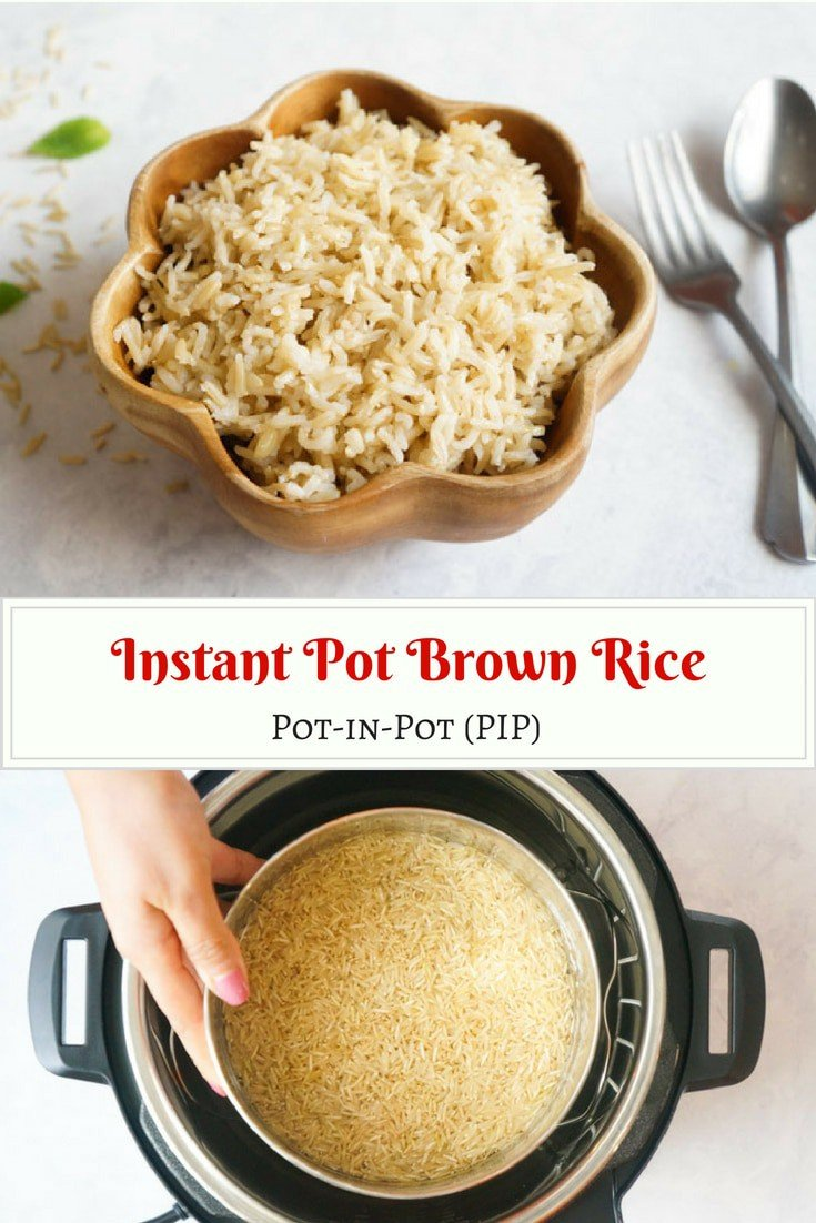 Make perfect pot-in-pot brown rice in your instant pot every time. It is quick, easy and no fuss! #basmati #longgrain #brownrice #rice #pip #potinpot #instantpot #pressurecooker #vegan #vegetarian | pipingpotcurry.com