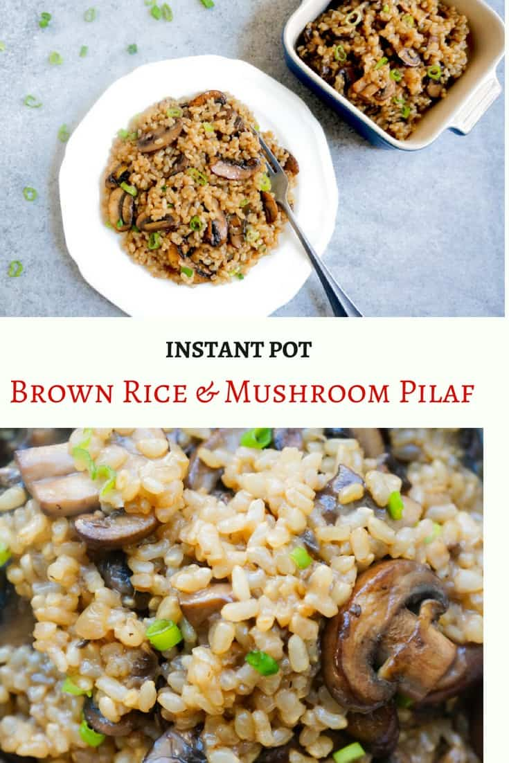Easy & Delicious Brown Rice and Mushroom Pilaf. A flavorful one-pot dish with just 5 main ingredients. It is perfect to make on a weeknight and enjoy as a side or even as a whole meal | #brownrice #rice #mushroom #pilaf #pulao #vegetarian #vegan #glutenfree #instantpot #pressurecooker #onepot #ad #perfectlyimperfectproduce | pipingpotcurry.com
