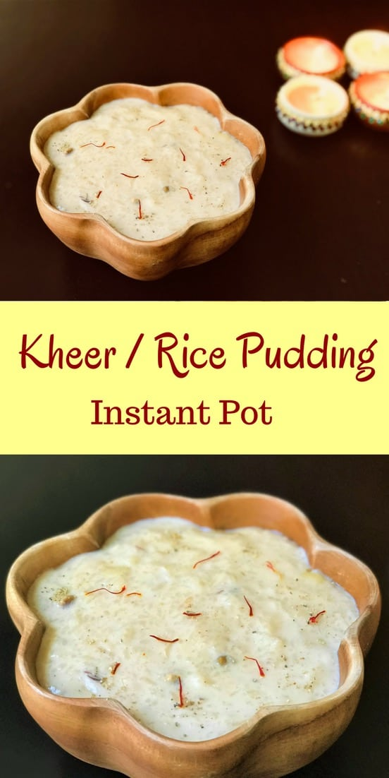 Making Kheer or Rice Pudding in the instant pot is so easy. Made with rice and milk infused with saffron, cardamom and assorted dried fruits. Just add all the ingredients and set to Porridge mode. Come back to perfectly creamy kheer in less than 40 mins! #rice #milk #saffron #kheer #pudding #recipe #indian #dessert #instantpot #pressurecooker  #vegetarian #glutenfree | pipingpotcurry.com