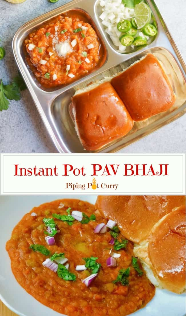A one-pot easy Pav Bhaji recipe, for the most popular Indian street food. Pav Bhaji is a spiced mashed vegetable curry, enjoyed with dinner rolls. Try this Stovetop & Instant Pot Pav Bhaji recipe made in just 30 minutes and you will not make it any other way again! | #pavbhaji #instantpot #pressurecooker #mumbai #bombay #streetfood #indian #curry #vegan #recipe | pipingpotcurry.com