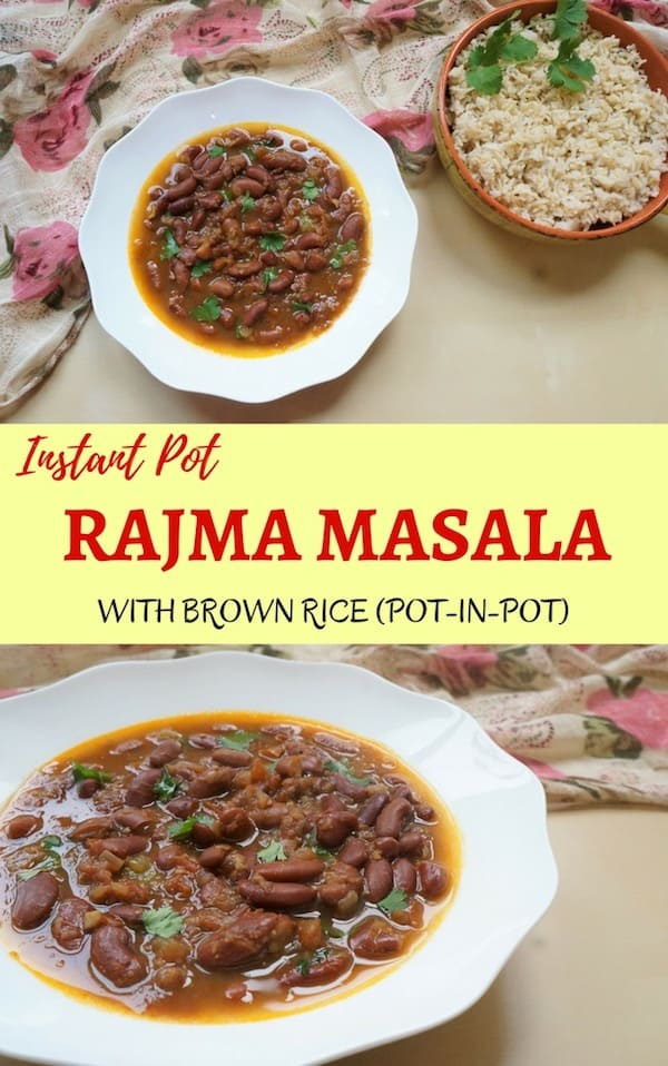 Rajma Masala with pot-in-pot Brown Rice in the Instant Pot. Rajma Chawal which translates to 'Red Kidney Beans Curry with Rice' is the best comfort food in many parts of the world | #rajma #beans #dry #dried #rice #recipe #curry #indian #vegan #glutenfree #instantpot #pressurecooker | pipingpotcurry.com