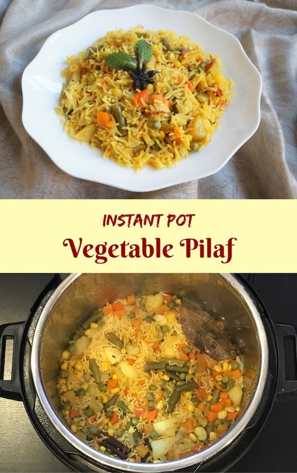 Vegetable Pulao or Vegetable Pilaf is an easy one pot rice dish mixed with a variety of vegetables and mildly flavored with spices. A perfect meal for busy evenings | #pulao #pilaf #rice #instantpot #pressurecooker | pipingpotcurry.com