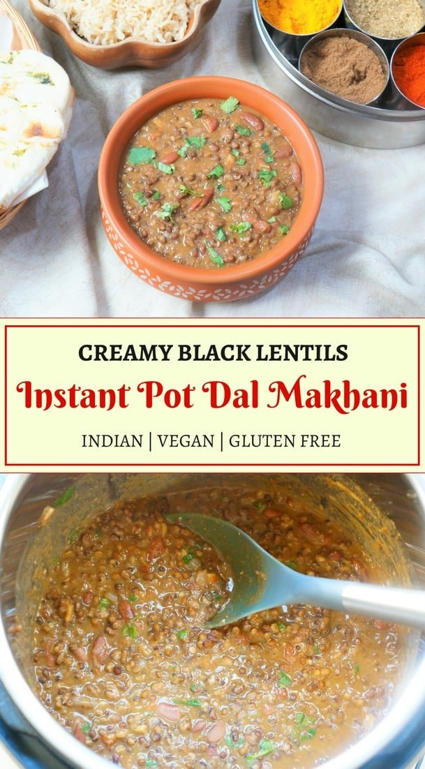 Authentic Punjabi style #Dal Makhani or Madras Lentils made in Pressure Cooker or #InstantPot. Black Gram lentils and kidney beans cooked in a onion tomato gravy with lots of ginger, garlic and butter...yumm! #madraslentils #pressurecooker #dalmakhani #kaalidal | pipingpotcurry.com