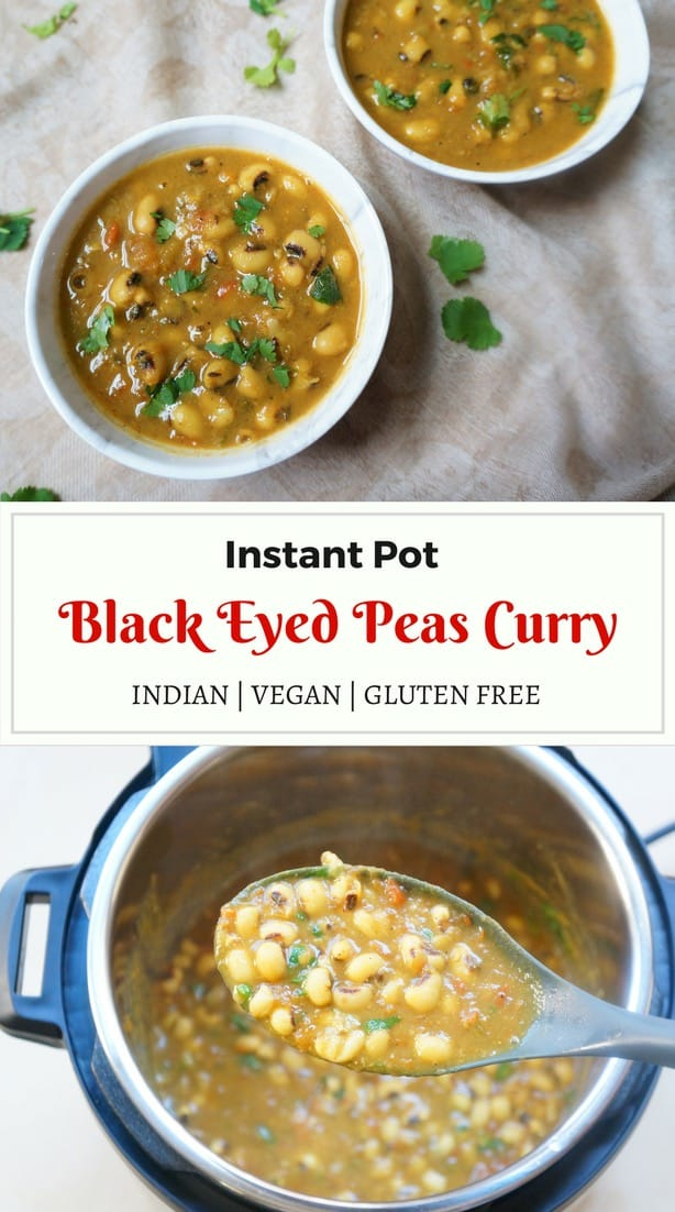 Black Eyed Peas Curry or Lobhia Masala is a popular dish in North India. It is made in an onion-tomato gravy, along with lots of ginger, garlic and aromatic spices. It is perfect to enjoy with some steaming basmati rice and parathas | #blackeyedpeas #curry #indian #vegan #instantpot #pressurecooker #glutenfree | pipingpotcurry.com