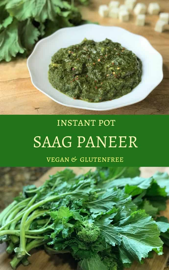 Punjabi Sarson ka Saag wit Paneer in Instant Pot. Saag is made with cooking mustard leaves and spinach with onions, ginger, garlic and spices. So delicious and nutritious! #saag #paneer #sarson #instantpot #pressurecooker #vegetarian #glutenfree | pipingpotcurry.com