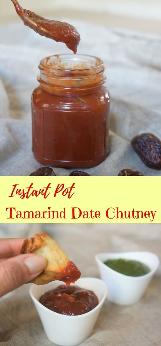 Tamarind & Date Chutney / Khajoor Imli ki chutney is both sweet and tangy at the time. Prepared with tamarind, dates, jaggery and spices | #easy #indian #streetfood #recipe #chutney #instantpot #pressurecooker | pipingpotcurry.com