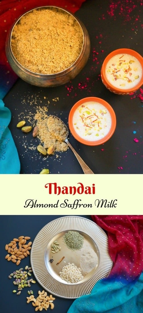 Thandai is a delicious cooling and refreshing drink made with milk flavored with nuts, seeds and spices. Thandai is made with a special spice mix, which is mixed in chilled milk. We will make the Thandai powder and then the Thandai Milk in this recipe.