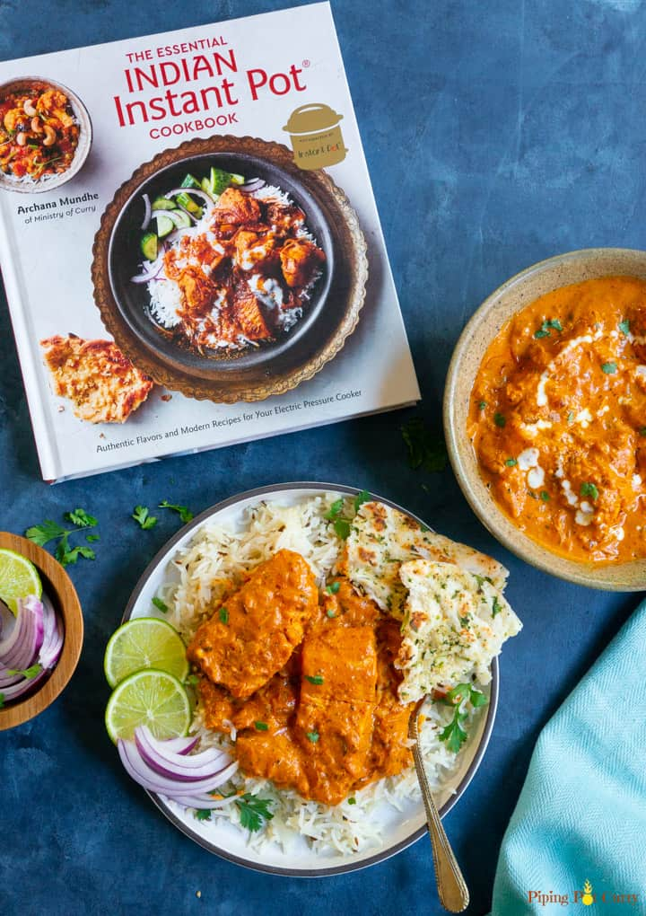 Instant Pot Salmon Tikka Masala with the cookbook