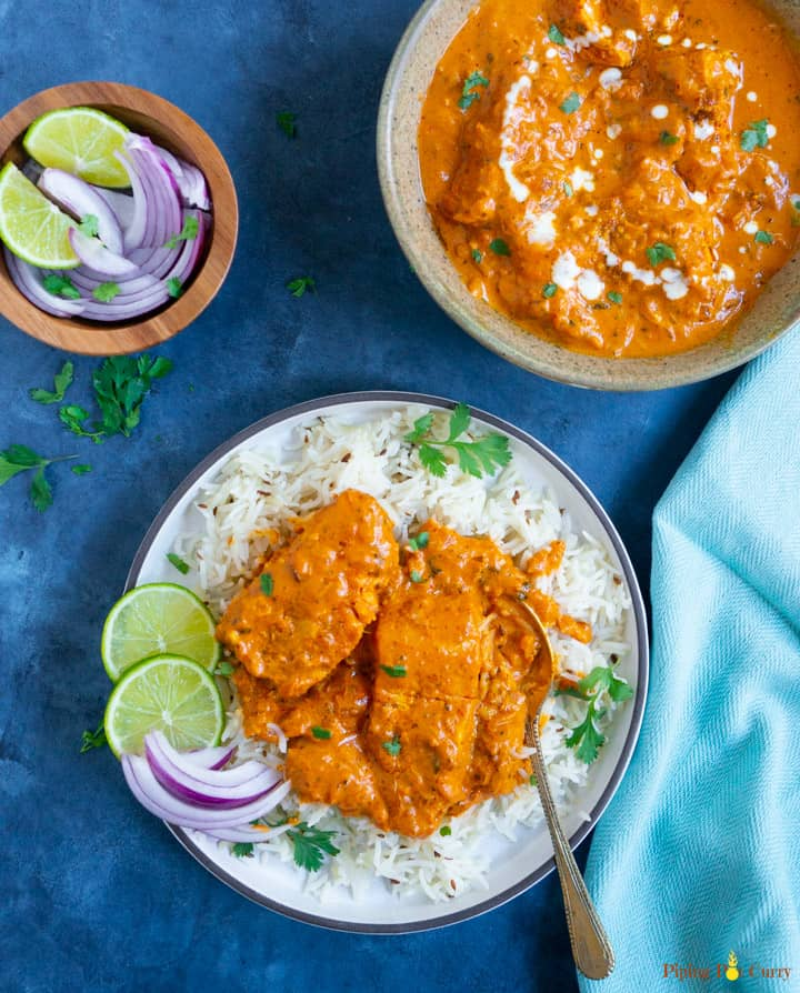 Instant Pot Salmon Tikka Masala served over basmati rice