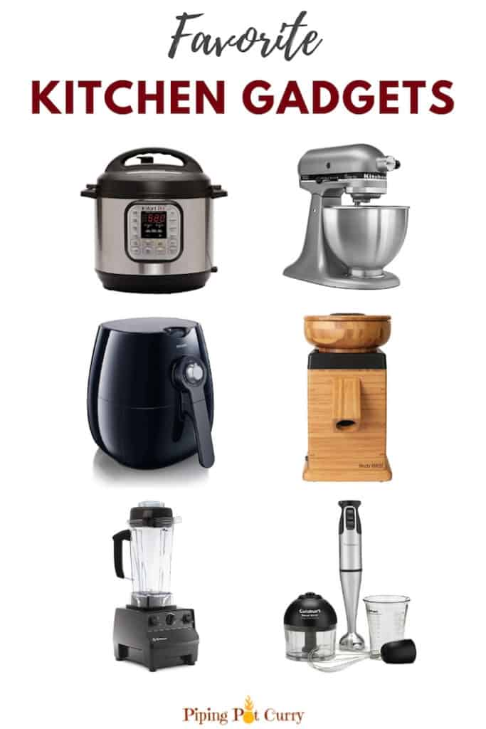 Favorite gadgets I use in my kitchen for all the deliciousness you see on pipingpotcurry.com | #kitchen #appliances #gadgets #kitchenappliances #kitchenessentials