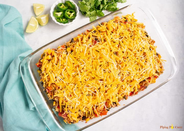 Vegetarian Mexican Casserole with Rice & Beans - Casserole ready to bake
