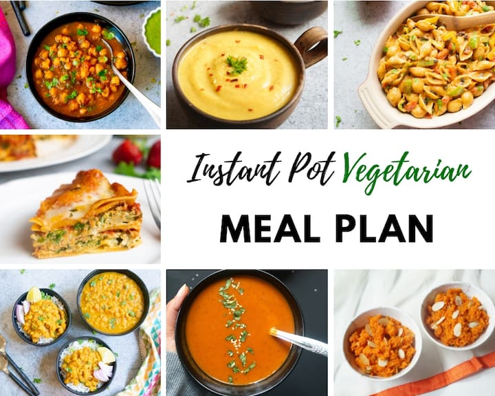 January Vegetarian Instant Pot Meal Plan Collage