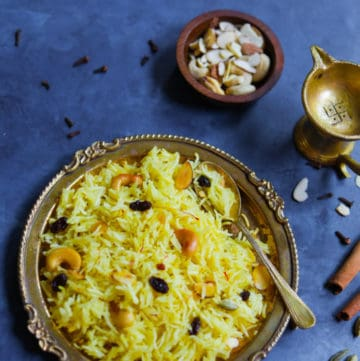 Zarda. Meethe Chawal, which is sweet rice made in the Instant Pot