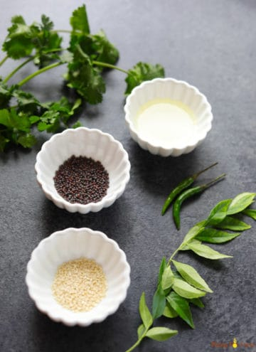 Ingredients to make Tempering for Rava Dhokla